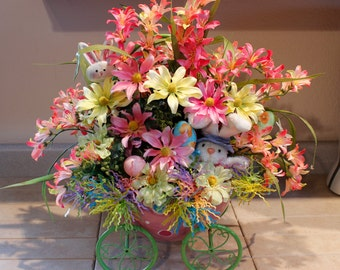 Huge Easter Boy Bunny, Eggshell Polka Dot Zig Zag Green Metal Cart, Pam's DeZines Floral With Pink Freesia Yellow Daisy.  (Item 101)
