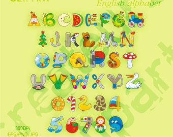 Baby vector letters of the English alphabet clipart Elements Set JPG/EPS/PNG For Personal and Commercial use/ Clip Art/ Instant Download