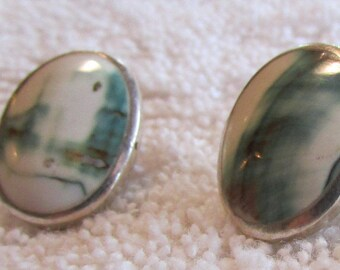 Sterling Silver and Shell Post Earrings