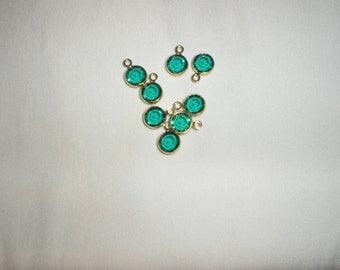 Swarovski Elements Gold Plated Channel Crystal Charm Emerald 10mm (2)