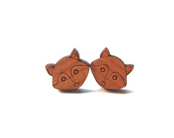 Fox Stud Earrings - Fox Earrings - Laser Cut Wood Studs - Animal Wooden Post Earrings