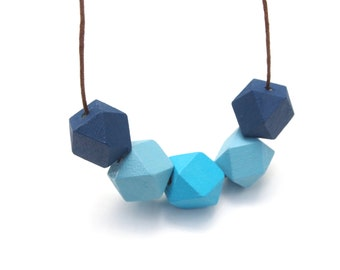 Blue Geometric Necklace - Geo Necklace - Geometric Wooden Necklace - Geometric Jewelry - Minimalist Wooden Necklace - Gradational Blue