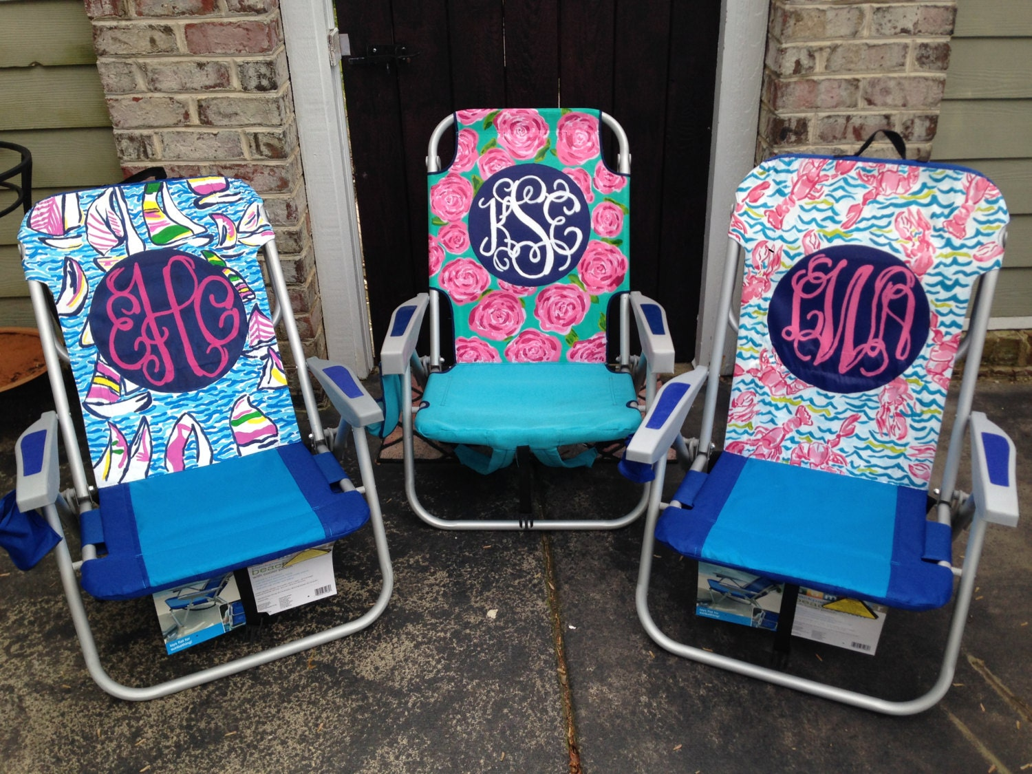 hand painted lilly pulitzer inspired monogram beach by scsouthern
