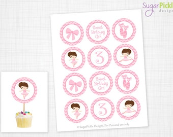 Ballerina Party, Ballerina Cupcake Toppers, 3rd Birthday, Ballet Birthday Toppers, Ballet Toppers, Ballet Party Decorations - 2.25 inch