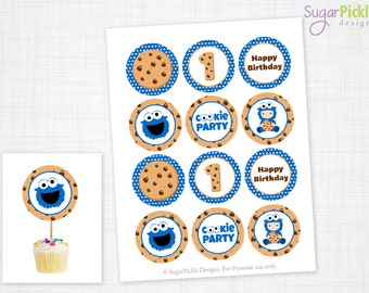 Cookie Monster Cupcake Toppers, 1st Birthday, Cookie Monster Birthday Toppers, Monster Toppers, Cookie Monster Party Decorations - 2.25 inch