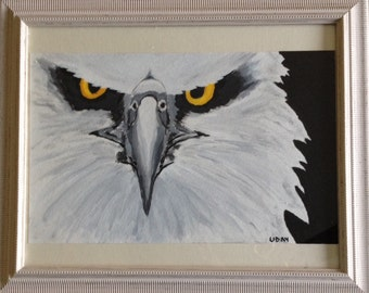 A lovely acryclic painting of an eagle  in a lovely frame.
