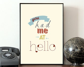 You had me at hello, Movie poster, Movie print, Jerry Maguire, Love, Romance, Gift  for her, Film quote, Famous quotes, Love Quote