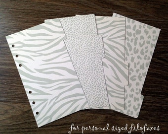 Planner Dividers. Set of 4 for PERSONAL sized Filofax and Compatible Planners. Side or Top Tabs. Custom Made.