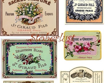 DIGITAL DOWNLOAD in A 4 page perfume label from PARIS vintage french nostalgic (Nr 4)