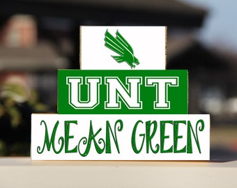 University of North Texas - Trio Wood Blocks Stack - Green/White - Home Decor/Gift - Denton Texas- Wooden BlocksCollege Gift School Pride