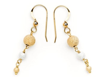 Wire-wrapped 14k Gold Fill and Sterling Silver Stardust Beads Earrings - 205