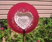 glass garden flower, garden glass ceramic plate flower, yard art, handmade plate flower, outdoor decor, plate flower handmade, garden decor