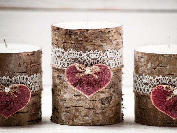 Rustic Unity Candle Set Personalized Birch Bark Candles