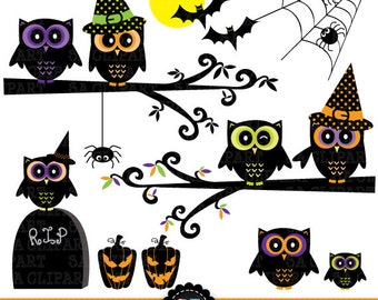 "Holloween ClipArt ""HALLOWEEN CLIP ART"" pack,halloween owl,pumpkin,bat,spider,branch, for invitations, scrapbooking and paper crafts Hlw004"