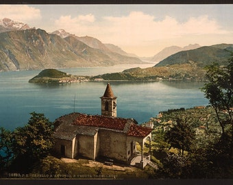 Capello St Angelo and view of Bellagio, Lake Como, Italy Colorized photo / photochrom. Vintage reprint postcard, 8x10 and larger available.