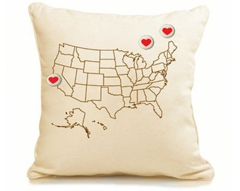 Hearts Go Out USA Pillow w/ 3 heart buttons
