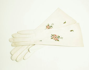 Vintage French Kid Embroidered Leather Gloves