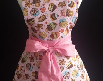 Full apron cupcake/ polka dots apron, retro 50's/ rockabilly apron