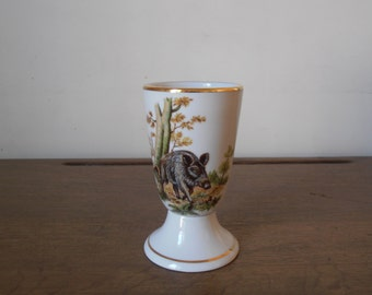 "A French vintage ""mazagran"" mug, with a wild boar painted on it"