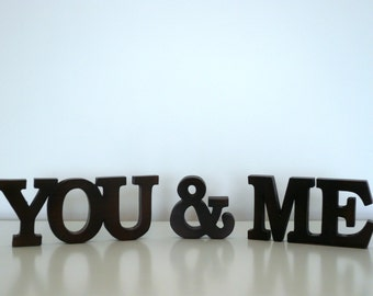 Wood Word Sign You & Me Decorative Wooden Word Wedding Decoration