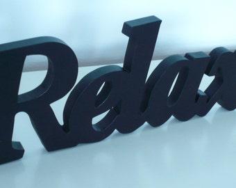 Wood Word Sign Relax Decorative Script Bathroom Word