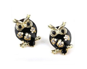 Black & Gold Owl Stud Earrings