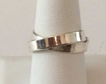 Size 8 Sterling Silver Double Band Ring