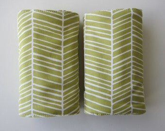 Pair of drool pads for your baby carrier-  ergobaby green  herringbone
