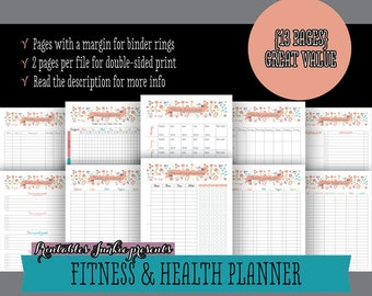 50% OFF Nutrition and Fitness Planner pdf Printable Pages - INSTANT DOWNLOAD - Exercise Journal and Meal Log, Floral