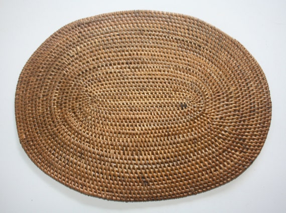 Set Of 2 Balinese Handmade Tight Weave Oval Rattan Placemats