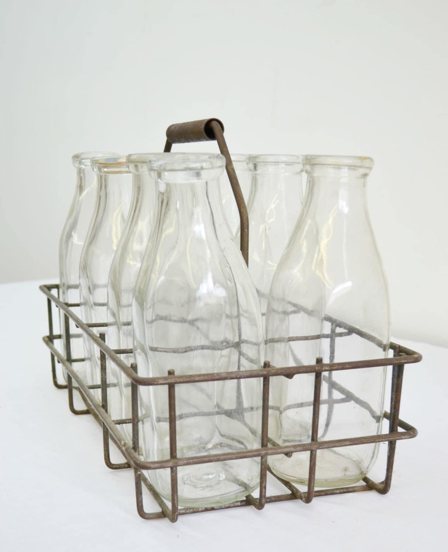 vintage milk bottle carrier with the full set of eight 8. Black Bedroom Furniture Sets. Home Design Ideas
