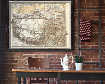 """Map of Tibet 1894 Old Tibet map up to 48x36"""" (120x90 cm) Historical British map of Tibet, Nepal, Himalaya - Limited Edition of 100"""