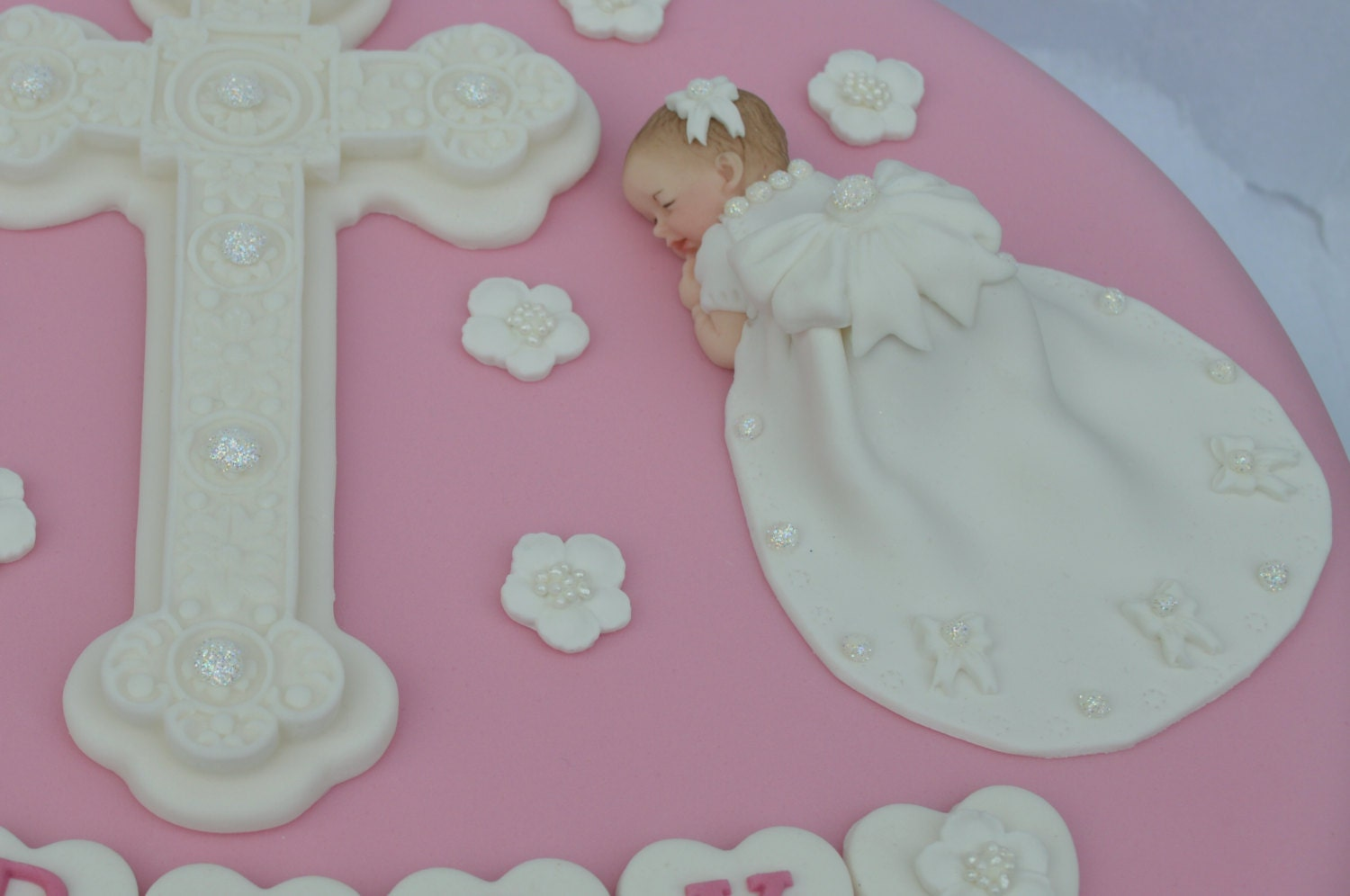 Edible baby girl and cross Christening cake topper. Baby Girl