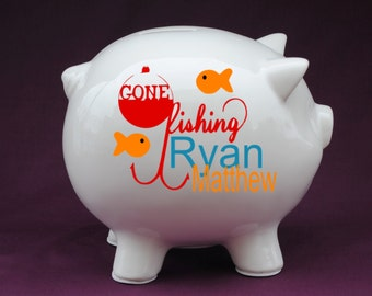 Fish piggy bank etsy for Fish food pantry sterling il