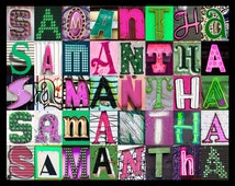 Personalized Poster featuring SAMANTHA (Green & Pink) in photos of sign letters; Typography print; Wall decor; Custom wall art; Name poster
