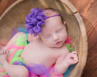Frayed Chiffon flower Headband, choose your color,Newborn Headband,  Infant Headband, Headband Baby, Baby Headband