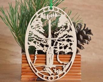 Wooden Waterfall ornament woodcut of Multnomah Falls Oregon wooden decoration