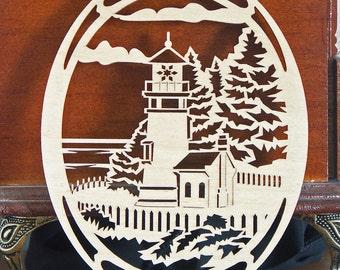 Lighthouse ornament wooden desk window decoration woodcut Heceta Head Lighthouse
