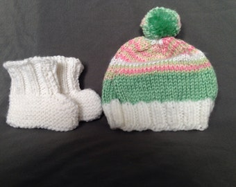 Handmade Knit Baby Hat and Bootie Set, white pink and green