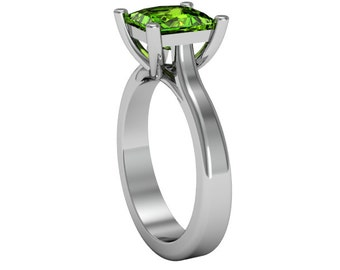 14k White Gold Peridot Ring,Solitaire Ring, Custom Gold Ring, Wedding Ring, Peridot Ring, Anniversory