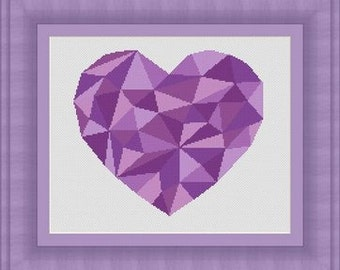 MOSAIC heart purple/ mosaique coeur- Counted cross stitch pattern /grille point de croix ,Cross Stitch PDF, Instant download , free shipping