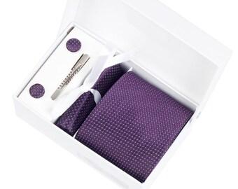 Mens Ties.Wedding Ties.Vilot Ties Set.Including cufflinks.tie.tie clip. pocket square.Gift For Him