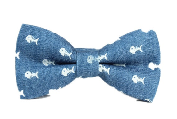 Light Blue Bow Tie With Fish Mens Bow Tie Bowtie For By