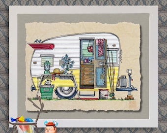 Vintage Shasta Camper art print Cute whimsical travel trailer and happy camper prints add fun to trailer or RV as 8x10 & 13x19 wall decor