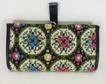 Vintage Cross stitch retro Wallet, Mad men 1960's floral  Tapestry carpet bag black