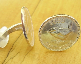 One Pair Sterling Silver Farthing Coin Cufflinks
