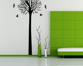 Tree with birds wall decal, Black Tree wall decal wall sticker Tasty wall sticker,Living room wall decals Home decor-7024