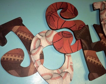 Custom Decorated Wooden Letters - Sports - Football - Baseball - Basketball