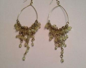 Cream Chandelier Dangle Drop Bead Earrings Costume Jewelry
