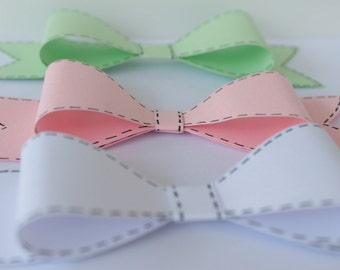 Unique Paper Bow ,Gift wrapper, Bow gift topper, Card stock Paper Bow, Unique Bow decoration. Cotton candy.